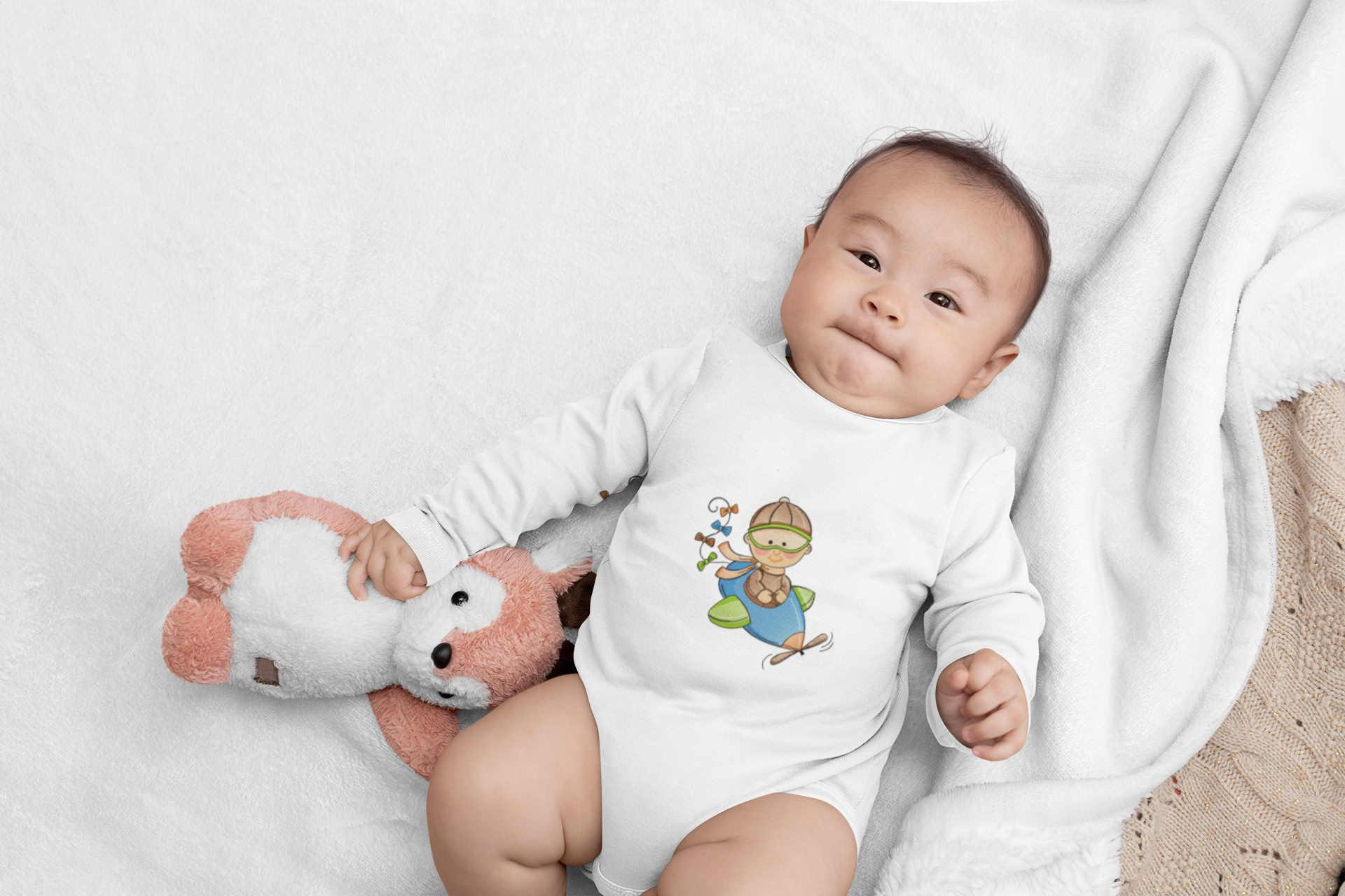 Embroidered baby clothing with Pilot design