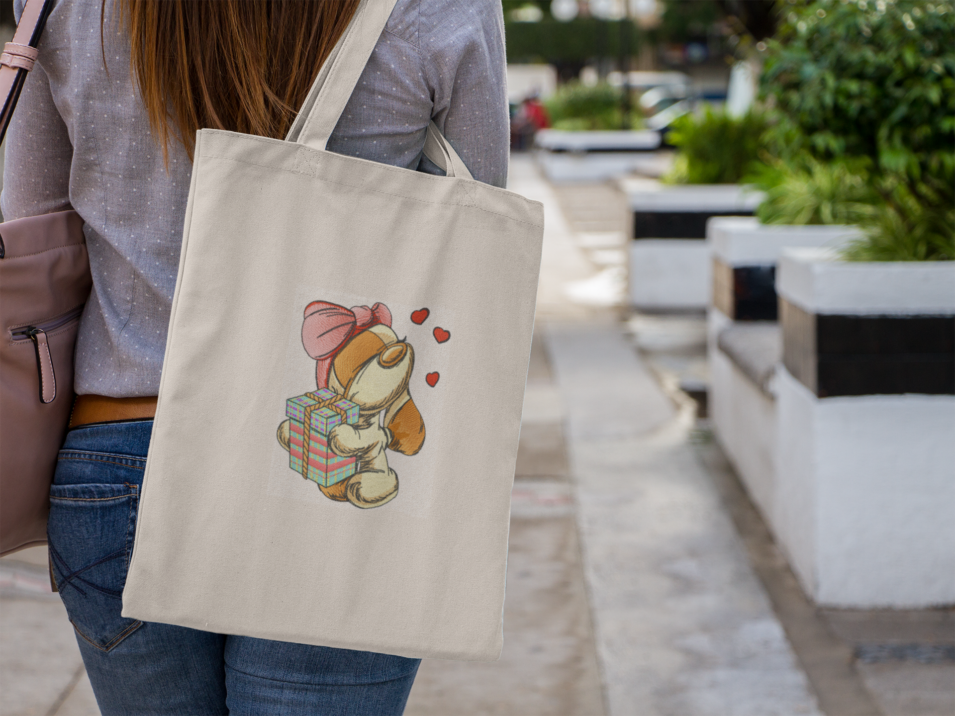 Embroidered bag with Spaniel with gift design