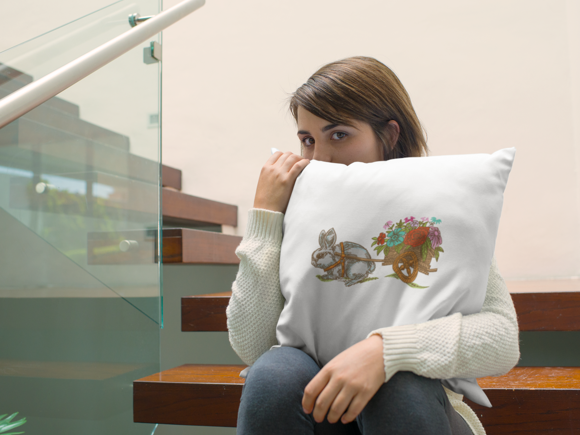 Embroidered cushion with Bunny design