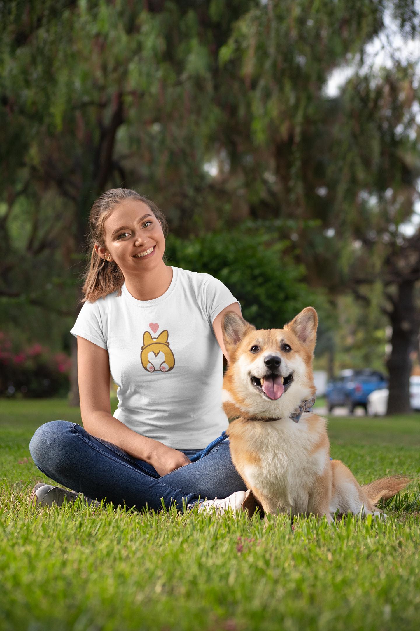 Embroidered t-shirt with Corgi design