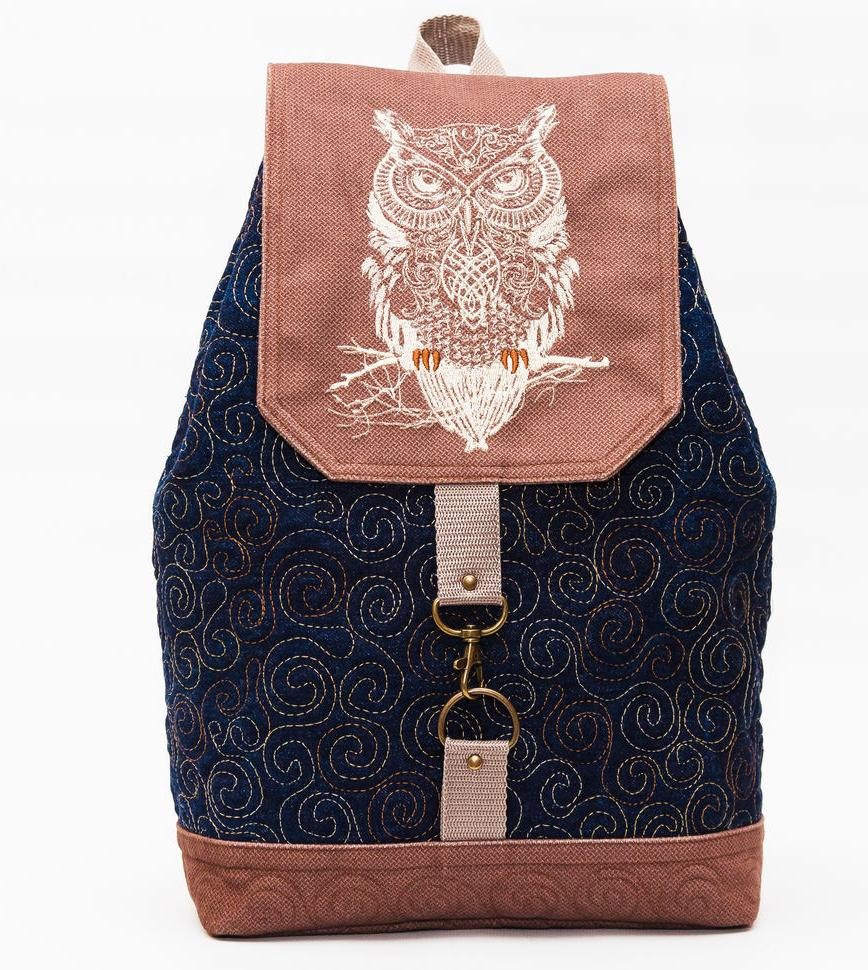 Embroireded backpack with wise owl design