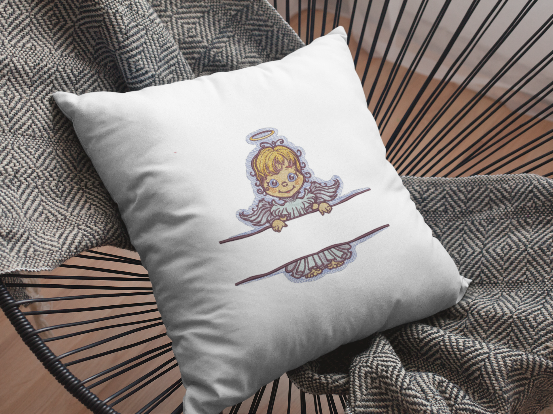 Embroidered pillow with Angel design