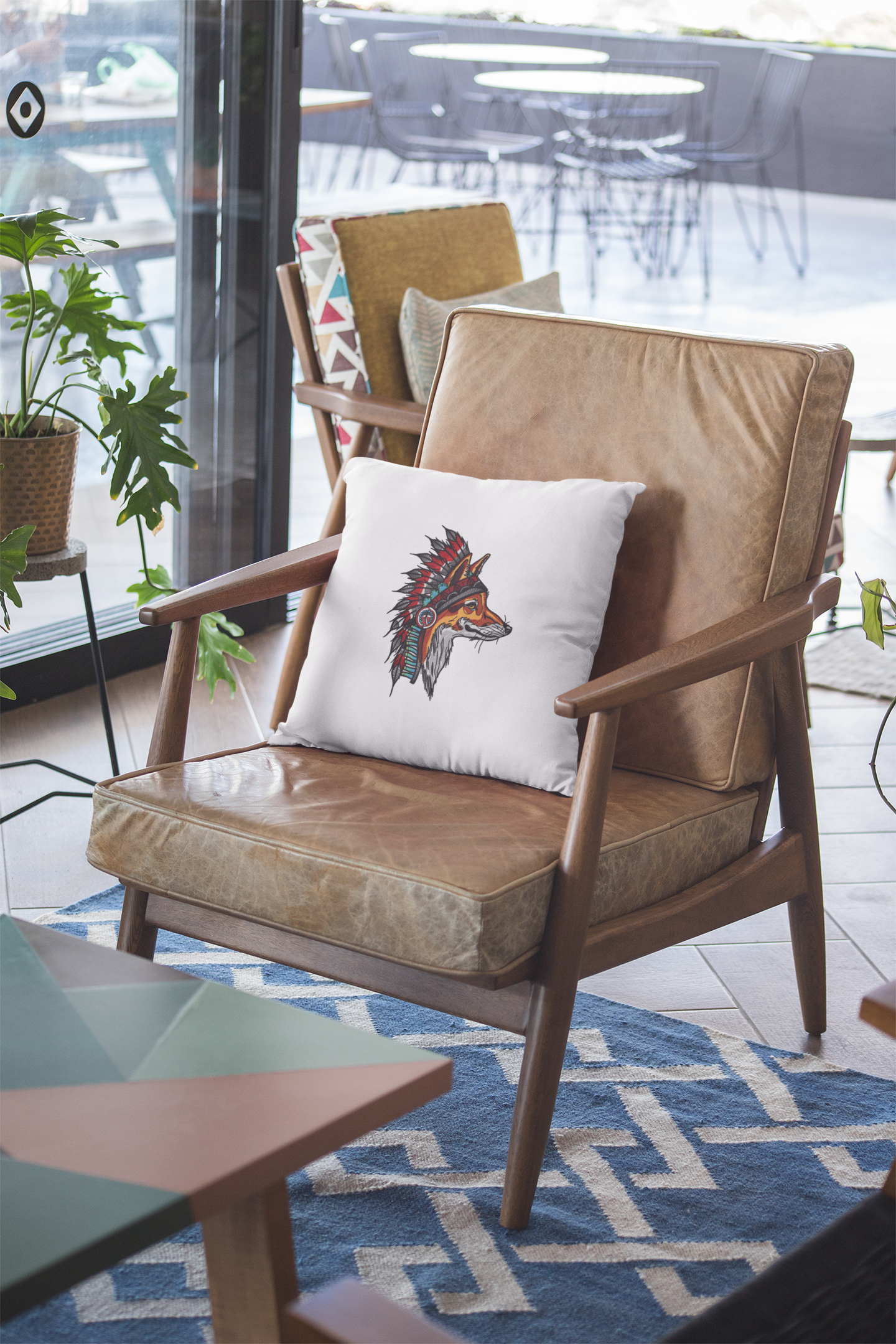Embroidered cushion with Indian fox design