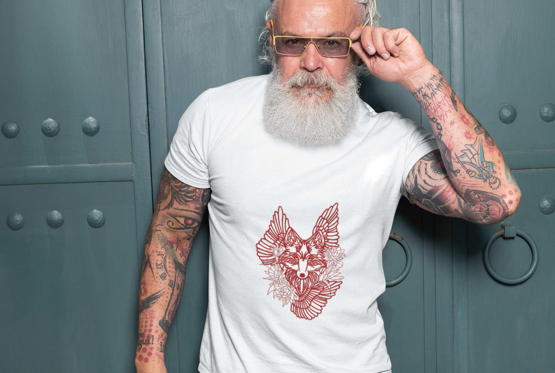 Embroidered t-shirt with Tribal wolf design
