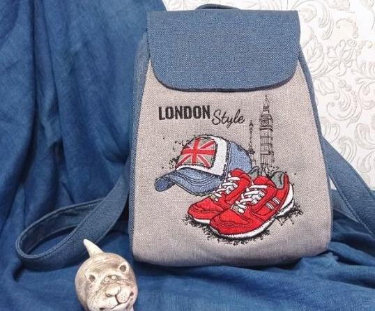 Embroidered backpack with London style design