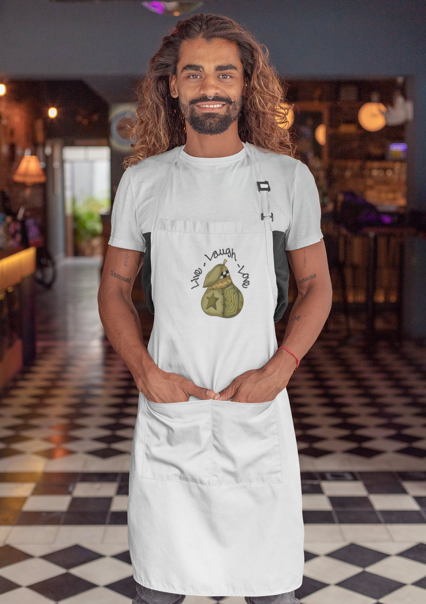 Embroidered apron with Original pear design