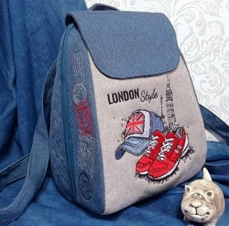 Embroidered backpack with London design